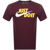 Nike Just Do It Logo T Shirt Burgundy